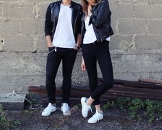 This is a simple everyday outfit for him and her. Just wear your favorite pair of black skinny jeans with a basic white t-shirt and top it all of with a badass black leather jacket. Go for your beloved white sneakers, ours are the adidas Stan Smith. Pro-Tip for guys: wear a jean-chain to make it look even more effortless. Cute look for couples who are confident enough to wear matching outfits. Make sure to check out our blog, that just launched: www.wurdeauchzeit.wordpress.com