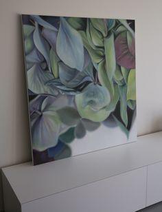 Hydrangea Green II, oil on linen 2012, felicidades estan hermosos tus cuadros gracias por compartit138cm x 12 2cm, By Leanne Thomas