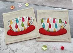 Retro Inspired Tea Cup Coasters - Raindrop Fabric Mug Mats - Handmade Coasters - Summer Decorations by TheCornishCoasterCo on Etsy