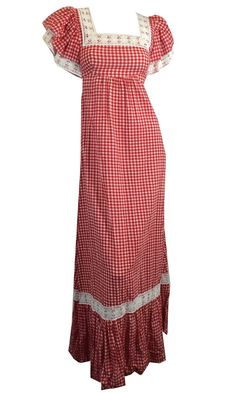 Cherry Red Gingham Cotton Maxi Peasant Dress w/ Ruffled Sleeves circa 1970s Dorothea's Closet Vintage Clothing