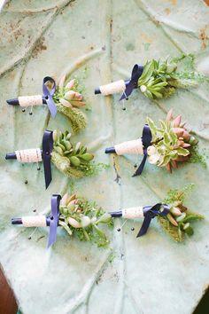 #succulent boutonnieres for a summer New England wedding - photo by http://www.rebecca-arthurs.com/ - http://ruffledblog.com/rhode-island-beach-wedding/