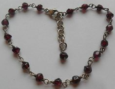 Sterling Silver and Plum Glass Link Bracelet 5 Grams by onetime, $6.25