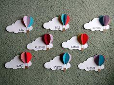 Hot air balloon door decs – – Heißluftballon Türdekore – – This image has get Ra Door Tags, Door Decs, Decoration Creche, Class Decoration, Diy And Crafts, Crafts For Kids, Paper Crafts, 3d Paper, Balloon Door
