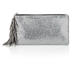Barneys New York Spike-Charm Zip Pouch (695 RON) ❤ liked on Polyvore featuring bags, handbags, clutches, silver, spiked purse, barneys new york, white clutches, barneys new york handbags and mesh purse