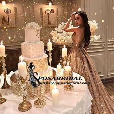 Gold Wedding Cakes Sleeveless Long Shinning Sparkly New Arrival Unique Prom Dresses, party gown, evening dress, Quince Decorations, Quinceanera Decorations, Quinceanera Party, Quinceanera Dresses, Wedding Decorations, Themes For Quinceanera, Sweet 15 Decorations, Sweet 15 Quinceanera, Masquerade Decorations