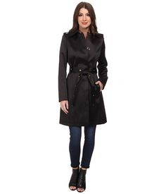 Via Spiga Single-Breasted Satin Trench with Belt Black - 6pm.com