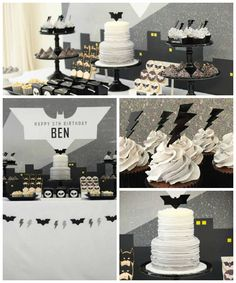 Modern Batman Birthday Party via Kara's Party Ideas | by Sugar Coated Mama! Batman desserts, printables, recipes, and more! KarasPartyIdeas.com