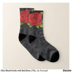 Chic Black Socks with Red Rose / Flower Pattern