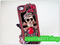 Vintage Luxury Bling Bling case, Skull Pirate case, Colorful Swarovski Element Rhinestone case for iphone5 iphone 4S/4