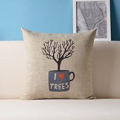 Envío gratis 18'' decorativos funda de almohada de algodón de lino de la copa del árbol y funda de cojín de ropa de cama funda de almohada 1 pcs