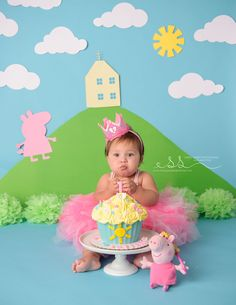 Peppa Pig Birthday Cake Smash Toss a wedding that is certainly uncomplicated, stylish, and Peppa Pig Birthday Outfit, Pig Birthday Cakes, 1st Birthday Cake Smash, 1st Birthday Girls, 1st Birthday Parties, Birthday Ideas, Kids Party Themes, Birthday Party Decorations, Party Ideas