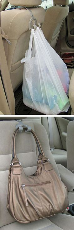 Bag Grabber // clever set of hooks to hang bags over the car seat, can be used front or back... invented by a Mom! Genius! #product_design