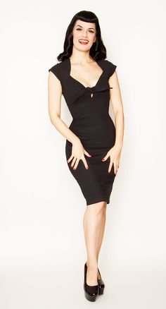 Broad Minded Clothing - Stretch Knit Twist Tie Front Little Black Dress $59.95