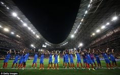The French players and fans adopted Iceland's Viking clap celebration at the final whistle in Marseille