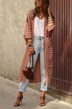 Digital Print Long Sleeve Cardigan Coat - - Details: Material: Polyester Size Length Bust Waist Hip S M L XL Outfits Fo, Trendy Outfits, Fall Outfits, Summer Outfits, Fashion Outfits, Fashion Trends, Woman Outfits, Trending Fashion, Kimono Fashion