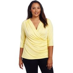 Karen Kane Women's Plus-Size Short Sleeve Wrap Top ($26) ❤ liked on Polyvore featuring tops, plus size, womens plus tops, plus size 3/4 sleeve tops, wrap top, three quarter sleeve tops and 3/4 length sleeve tops