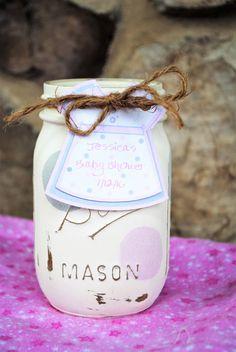 Baby Shower Mason Jar Centerpiece Painted Mason by charmcitycharm