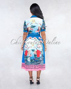 Chic Couture Online - Raven Blue Multi-Color Print Two Piece Pleated Set Chic Couture Online, Herve Leger, Color Print, Clubwear, Raven, Stylish Outfits, Midi Skirt, Party Dress, Gowns