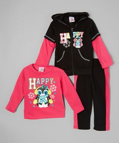 This Hot Pink 'Happy' Sweatshirt Set - Infant, Toddler & Girls by Real Love is perfect! #zulilyfinds