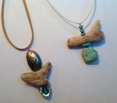 Abalone and turquoise pendants with driftwood