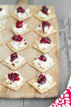 | Thanksgiving Leftovers Appetizer: Turkey Salad Topped with Cranberry Sauce |