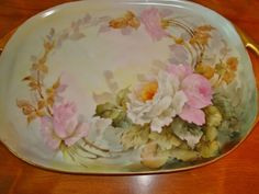 Limoges France Hand Painted Porcelain  Antique Handle Tray Gorgeous Roses