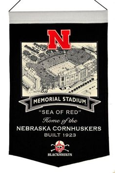 Nebraska Huskers Wool Stadium Banner - Memorial Stadium