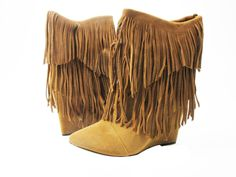 Two layer fringes, Suede look, Pointed toe, 4 inch wedge. New arrival - this boot is HOT! #myshoehaul #shoehaul #fringe #boots