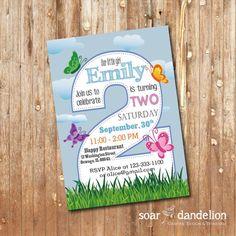 2nd Birthday Party Invitation. Butterfly Birthday by soardandelion, $9.90