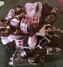 """Pink and brown 4""""hair bow Over the top/ boutique style hair bow/pageant bow/ big bow/baby hair bow/ baby headband/birthday bow/ smash cake . by SweetDesignsbyCindy on Etsy"""