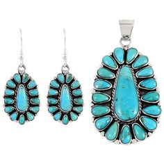 Sterling Silver Pendant & Earrings Set Turquoise PE4029-C75