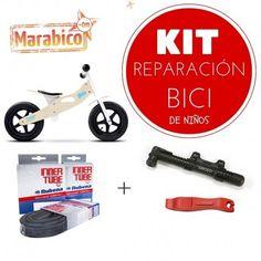 Camaras, bomba y desmontables para cambiar una rueda de la bici de los niños