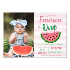 One in a melon, watermelon invitation, picture invitation Girl First Birthday, Baby Birthday, First Birthday Parties, First Birthdays, Birthday Ideas, Birthday Gifts, Disney Birthday, Birthday Bash, Birthday Decorations