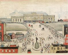 """""""""""I only paint what I see, you know"""" – L.S Lowry RA, who was in Here's his painting 'Station Approach' to brighten up your commute home 🚂 Salford, English Artists, Dutch Artists, Painting Station, The Artist Movie, Most Famous Artists, Royal Academy Of Arts, Sign Printing, American Artists"""