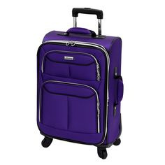 This 21-inch expandable spinner carry-on from Advantage features a Recessed locking, push button handle system and multi-directional 360-degree spin technology 4-wheel system for convenient traveling.