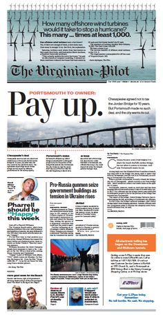 The Virginian-Pilot's front page for Friday, Feb. 28, 2014.