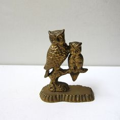 Vintage retro owl and owlet on a branch brass figurine