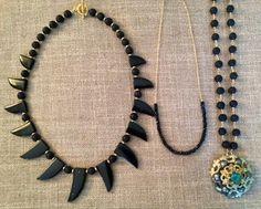 Lava Love by Theodosia Jewelry. Lava necklaces with tiny black onyx delicate   www.theodosiajewelry.com http://thenearby.com/posts/4166