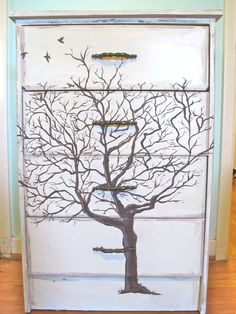Shabby Chic Vintage Hand Painted Dresser- Tree and Birds. Project for the husband! Hand Painted Dressers, Hand Painted Furniture, Funky Furniture, Paint Furniture, Repurposed Furniture, Shabby Chic Furniture, Furniture Projects, Furniture Makeover, Painted Chest