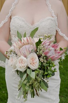 Vintage and lace protea loose organic hand-tied bridal bouquet.
