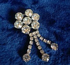 Diamante Flower Brooch, Vintage Brooch, Pin, Rhinestone, Vintage Jewelry, 1950s Fashion, Costume Jewelry, Jewellery, Rosette, Dangle Brooch by TillyofBloomsbury on Etsy