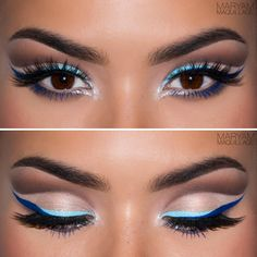 """Holiday Party"" Makeup Look: Sharp, duo-tone blue liner and exaggerated wing contrasting against a dramatic cut-crease which separates the space between the lash line and the brow. The cut-crease technique is great for achieving a larger lid space and is especially flattering on smaller eyes, monolids or hooded eyes."