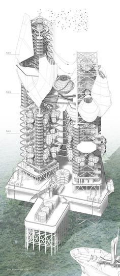 Architectural Drawing Julien Nolin by Bio-Rig - Masters of Architecture and Extreme Environments, Royal Danish Academy of Fine ArtsBachelor of Architectural Studies Carleton University Architecture Graphics, Architecture Student, Architecture Drawings, Architecture Portfolio, Landscape Architecture, Architecture Design, University Architecture, Building Architecture, Concept Architecture