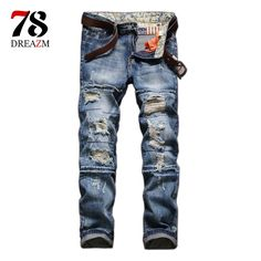 (28.79$)  Buy here  - Distressed ripped Jeans for Men Torn Denim Pants Male New Fashion Garment Washed skinny biker punk Jeans