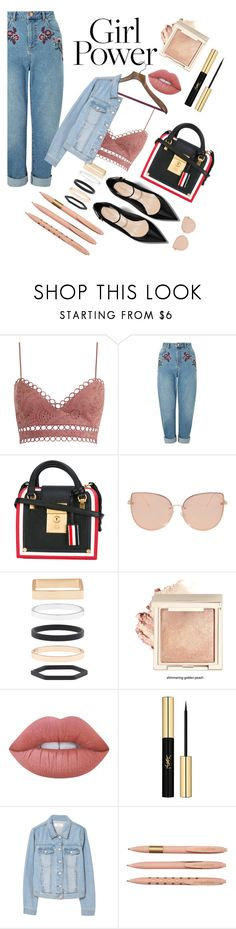 """""""Untitled #65"""" by miss-nothing-xo ❤ liked on Polyvore featuring Zimmermann, Miss Selfridge, Thom Browne, Topshop, Accessorize, Lime Crime, Yves Saint Laurent and MANGO"""