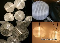 25 White Solar Lanterns with Warm White LED Fairy Lights from the Solar Party Shop Icicle Lights, Party Lights, Christmas Lights, Outdoor Solar Lanterns, Outdoor Lighting, Solar Fairy Lights, Chinese Lanterns, Christmas Fairy, Party Shop