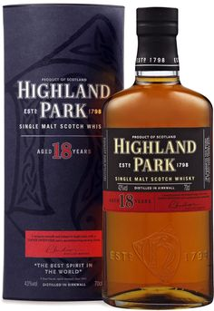 """Highland Park 18 Year Old Single Malt #Scotch Whisky. Aged for 18 years, this #whisky was called """"the greatest distilled spirit of this generation""""by Wine Enthusiast. 