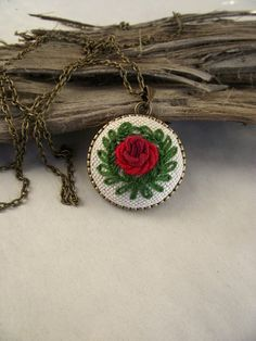 Embroidered pendant with rose, floral pendant, embroidered jewelry, gift for girl, christmas gift by ZoZulkaart on Etsy