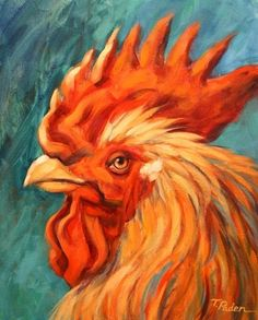 Brightly Colored Rooster Painting, Barnyard King by Theresa Paden, painting by artist Theresa Paden