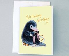 Niffler Happy Birthday Card, Fantastic Beasts Illustrated Art Print and Greeting Card, Niffler Pop Culture Art Print by ChloeFaeDesigns on Etsy